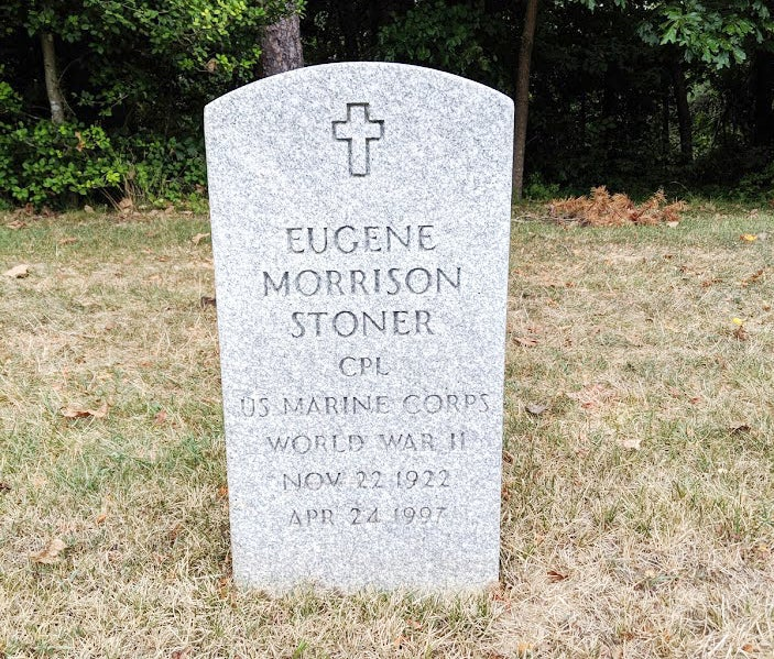 A photo of Eugene Stoner's headstone at Quantico National Cemetery in Virginia taken last year.