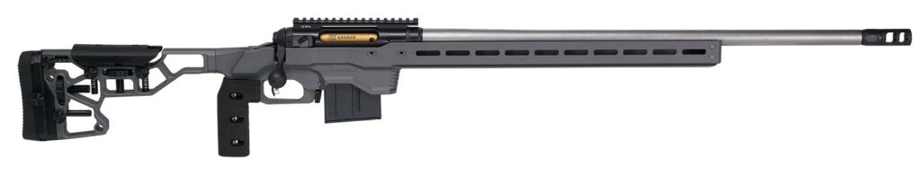 A silhouetted, skeletonized 110 Elite Precision chassis rifle from Savage Arms with an adjustable stock, pistol grip, gold bolt, and Picatinny rail.