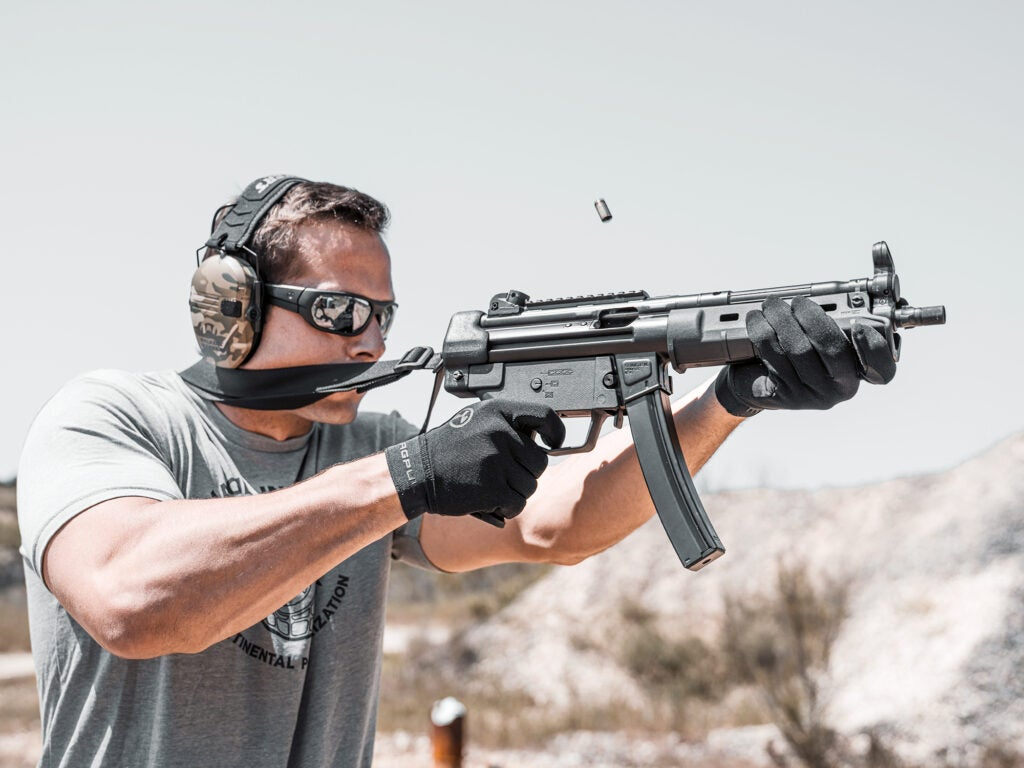 The Magpul 8-inch MP5 handguard in action.
