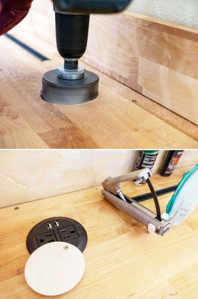 At the back of the bench, two 3-inch hole-saw cuts were made and slotted with desktop power supplies.