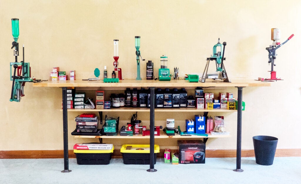 The finished result of the author's DIY reloading bench project.