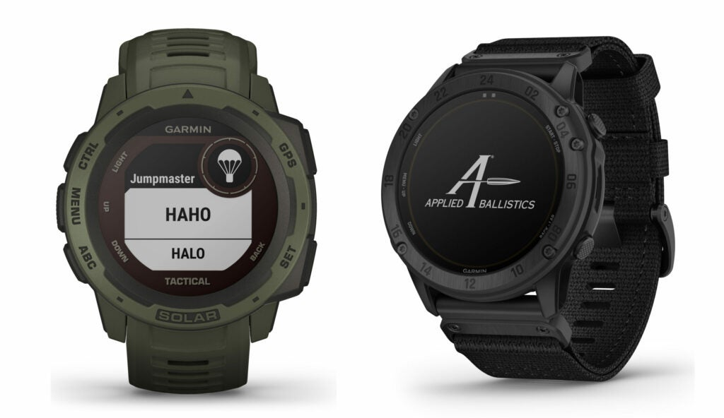 (left) The new Garmin Instinct - Tactical Solar Edition smartwatch and the tactix Delta – Solar Edition with Ballistics watch.