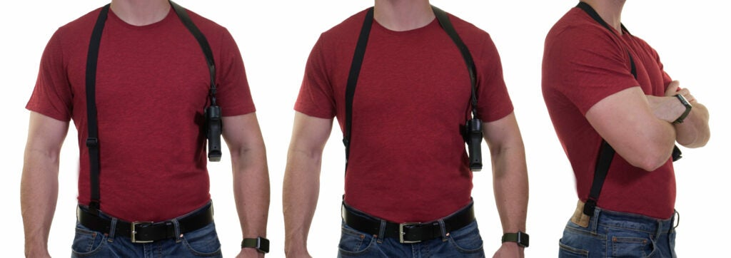 The belt clip on the Half Harness can be worn toward the front or toward the rear for maximum concealability.