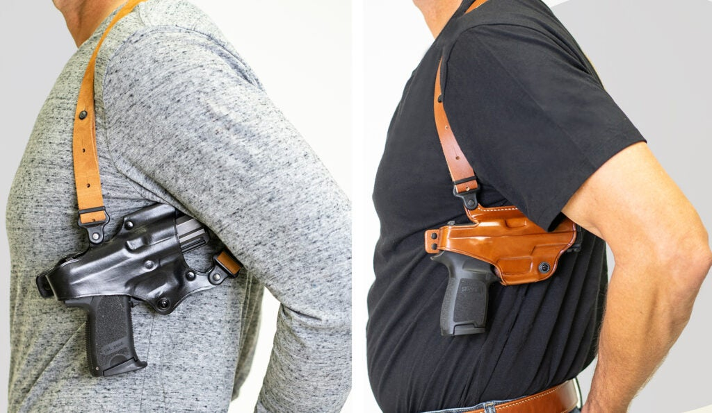 Notice the difference in holster cant between the Jackass Rig (left) and the Miami Classic.