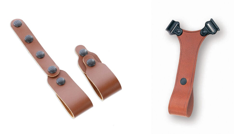 The MCII will work with a set of horizontal holster tie downs from Galco (left) which snap right on and attach to a belt. The ammo carrier on the MCII can be replaced with an SST belt tie down (right).