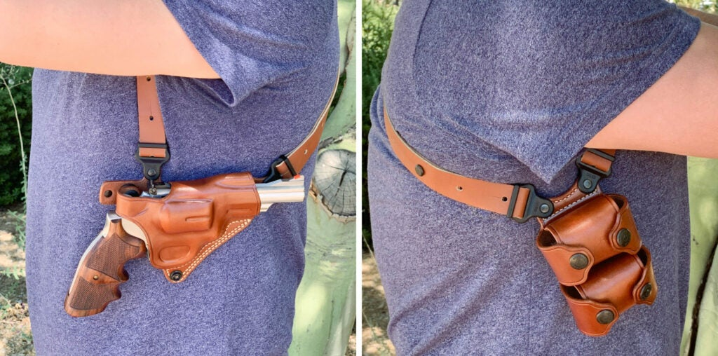 The Miami Classic II with a revolver holster comes with a double speedloader carrier for the off side.