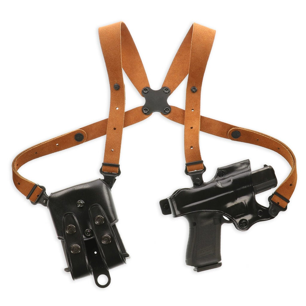 The Galco Jackass Rig is less expensive than the MC rigs because it uses a different type of leather for the harness and the holster and magazine carrier are riveted instead of being stitched.
