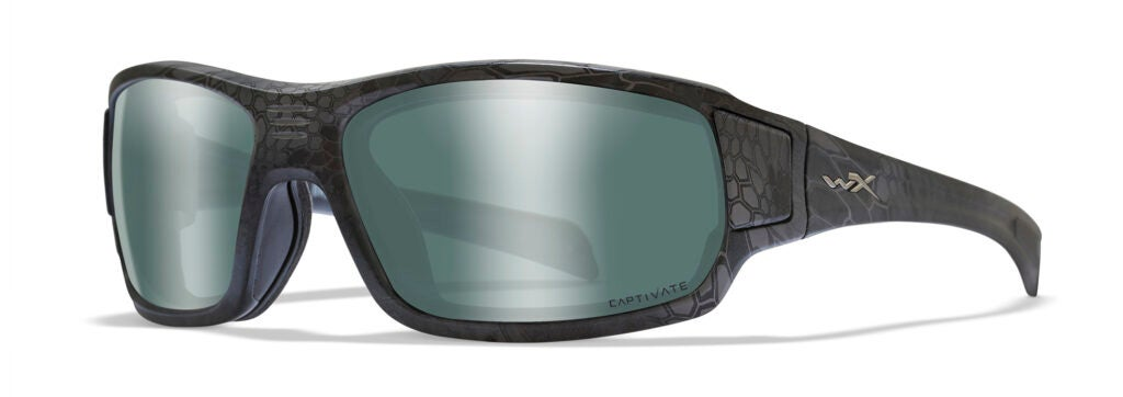 The WX Breach from Wiley X with Kryptek Typhon camo frames and Captivate Polarized Platinum Flash lenses.