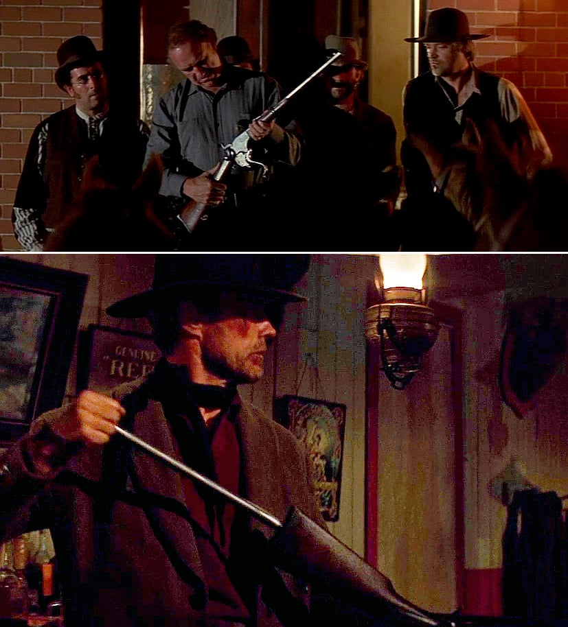 """Gene Hackman with the action open on a Spencer 1860 in the 1992 film <i>Unforgiven</i> (top) and Clint Eastwood removing the magazine tube insert to reload."""" class=""""wp-image-1599″/><figcaption>Gene Hackman with the action open on a Spencer 1860 in the 1992 film <i>Unforgiven</i> (top) and Clint Eastwood removing the magazine tube insert to reload. <i>imfdb.org</i></figcaption></figure>  <p id="""