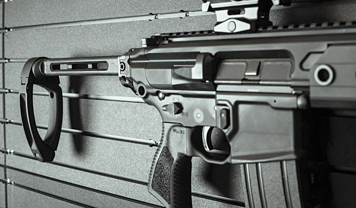 An AR pistol equipped with a pistol brace.