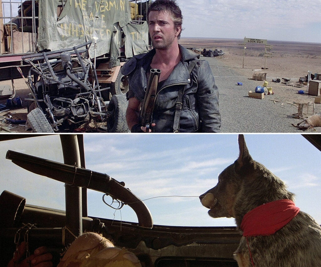 (top) Max with his sawed-off shotgun. (bottom) Max's faithful Australian cattle dog is ready to pull the trigger.