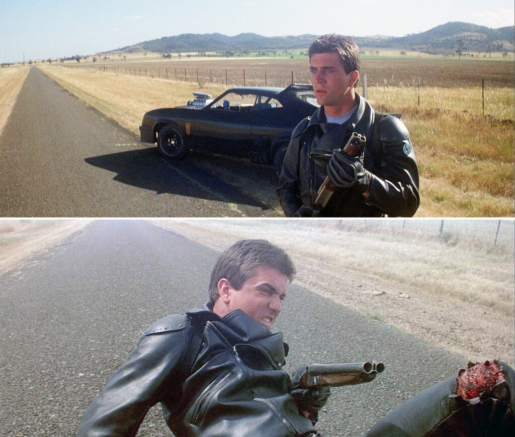 Max with his signature sawed-off VG Bentley double-barrel shotgun, before and after his knee is shredded by a motorcycle.