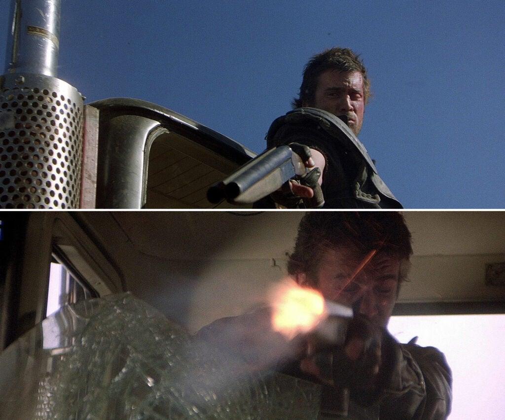 (top) Max aims his iconic sawed-off shotgun during the big chase. (bottom)A dud round fizzles in his shotgun.