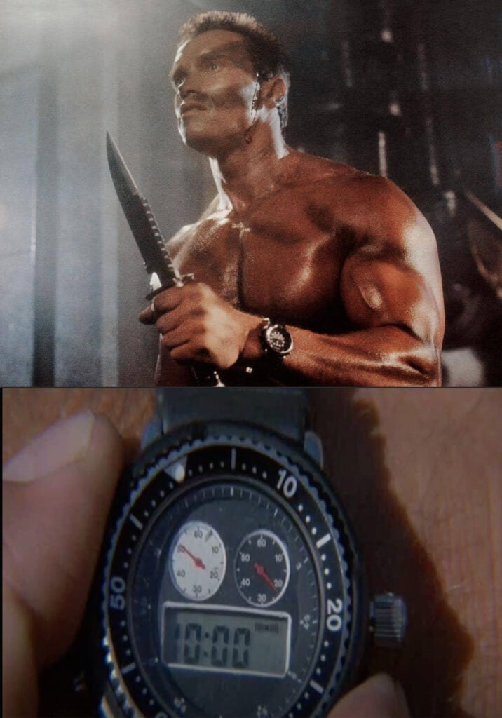 (top) Arnold wearing the Seiko 1982 Hybrid Diver watch with an analog-digital display. (bottom) For the close-ups of the watch, a different model with a larger digital display was used.