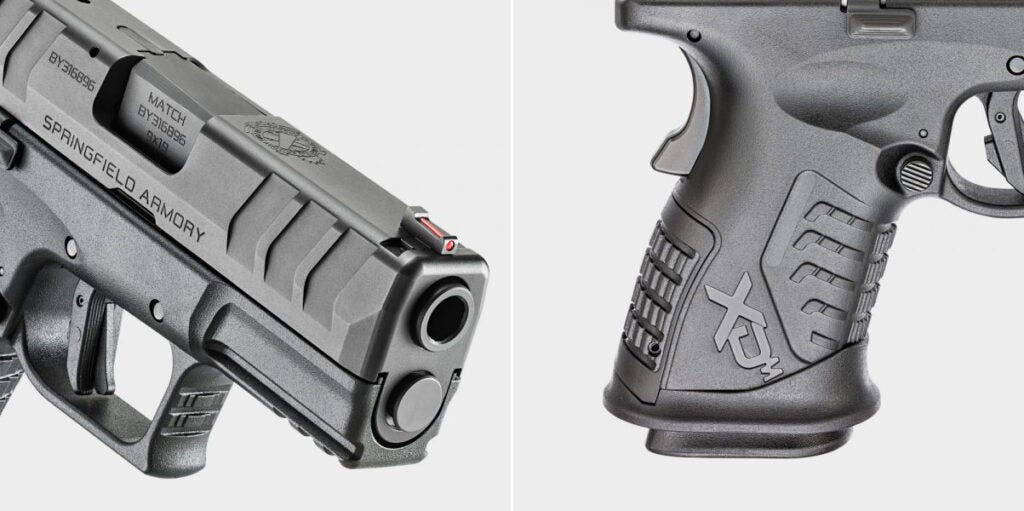 """<i>(left)</i> The XD-M Elite 3.8″ features a hammer-forged barrel designed to deliver long life and match-grade accuracy when it counts. <i>(right)</i> Designed for deep-cover concealment the gun has a compact grip frame designed to offer maximum capacity — 14+1 — within a minimal footprint. A flared and extended magwell ensures fast reloads."""" class=""""wp-image-16727″/><figcaption><i>(left)</i> The XD-M Elite 3.8″ features a hammer-forged barrel designed to deliver long life and match-grade accuracy when it counts. <i>(right)</i> Designed for deep-cover concealment the gun has a compact grip frame designed to offer maximum capacity — 14+1 — within a minimal footprint. A flared and extended magwell ensures fast reloads. The magwell is also removable, allowing the user to use 19-round magazines with the appropriate magazine sleeve. <i>Springfield Armory</i></figcaption></figure>  <p id="""