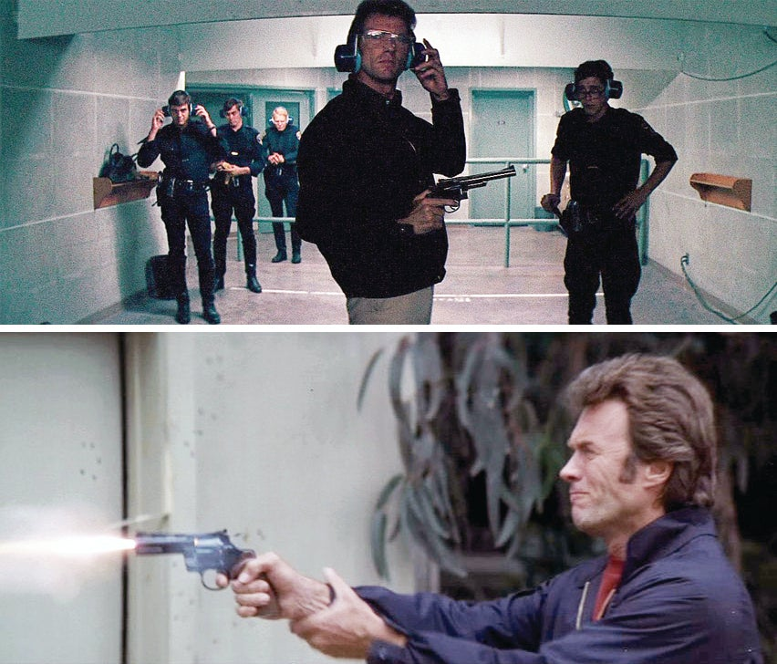 (top) Harry prepares to fire his S&W Model 29 while shooting with the young motorcycle cops at the range. (bottom) Harry shoots Davis' .357 Magnum Colt Python after throwing the shooting competition.