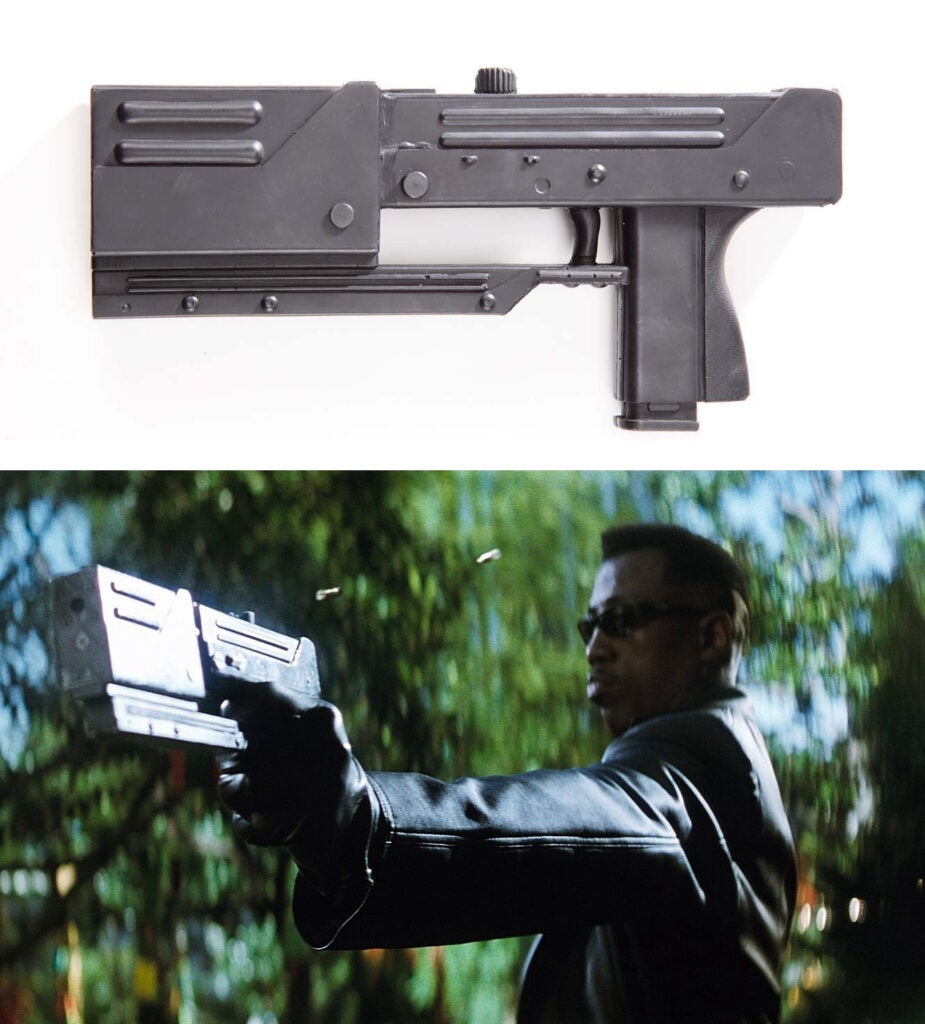 Blade's machine pistol has a MAC-11 body with the cast of a MAC-10 receiver as the muzzle device.