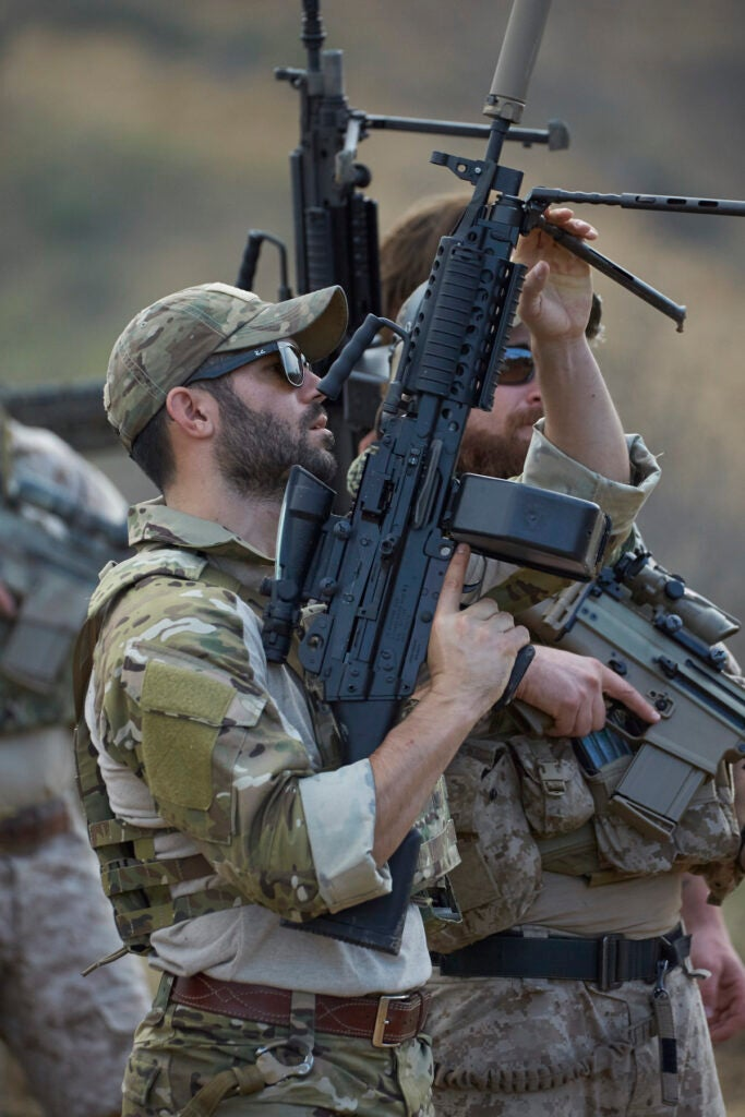 The U.S. military has been using the 5.56 NATO M249 Squad Automatic Weapon since 1986. It replaced the M60 machine gun, chambered in 7.62 NATO.