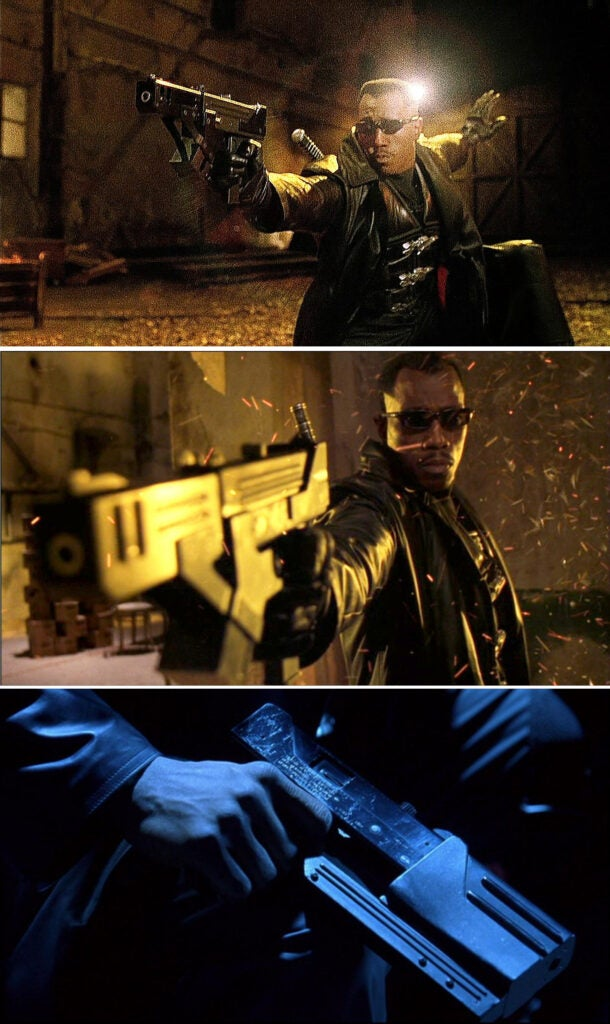 Highly modified MAC-11 machine pistols are used in the beginning of the movie, and then Blade uses on the MAC-10s from the first film in a later scene.