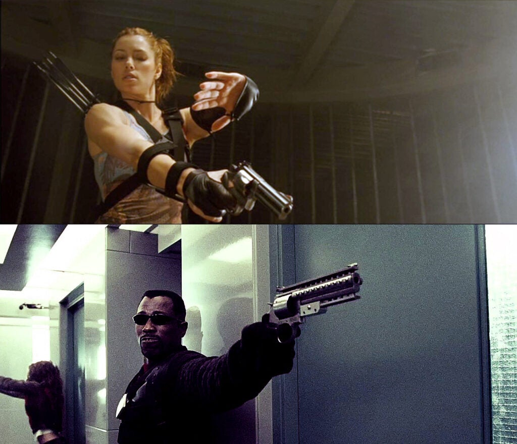 (top) Abigail Whistler (Jessica Biel) carries a Smith & Wesson Model 686 Plus, which she nicknames