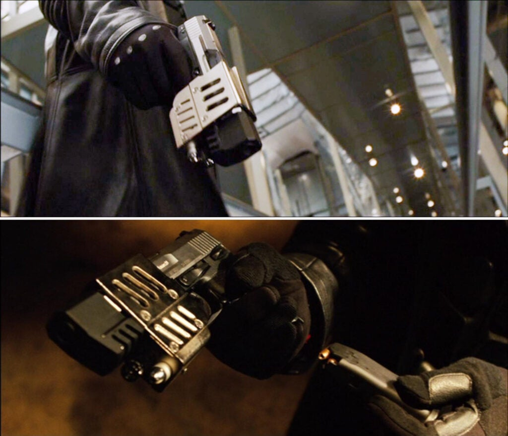 Blade again uses highly modified SIG Sauer USP pistols.