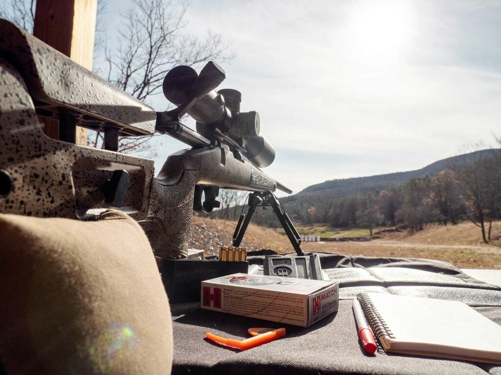 Shea's custom Bergara B-14 HMR in 6mm Creedmoor rests between rounds of instruction at the Sheepdog Warrior long-range shooting school in Catskill, NY.